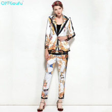 QYFCIOUFU High Quality Fashion Womens Two Piece Set Casual Suits Animal Printed Long Sleeves Jackets + Runway Pencil Pants