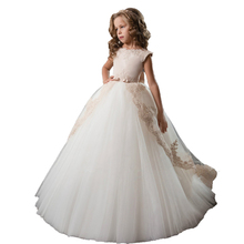 White First Communion Dresses Long Kids Ball Gowns Vestido Nina Wedding Party Tulle Lace Toddler Little Bride Flower Girl Dress bling beading white ivory lace appliques long sleeves flower girl dresses lovely kids wedding birthday party ball gowns