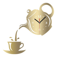 Wall Clock Coffee Cup Shape Decorative Mirror DIY Creative Personality Living Room Home Decor Stickers Watch Teapot