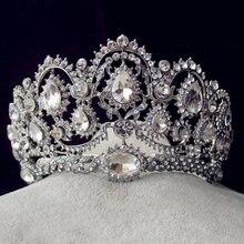 Europejski Vintage tiary biżuteria dla nowożeńców Quinceanera Rhinestone kryształowe korony korowód ślubne akcesoria do włosów dla narzeczonych