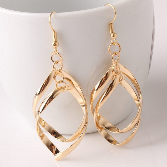 E0372 Hot Sale Hollow Rhombus Drop Earrings For Women Gold Silver Color Leaf Dan