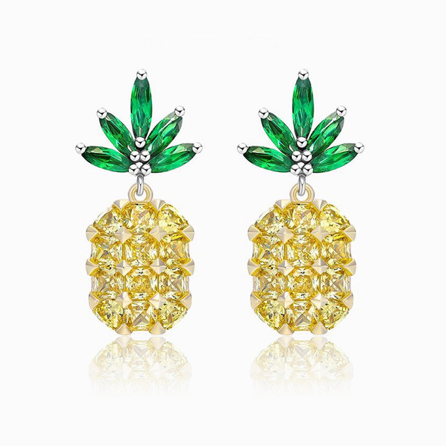 Fworld 2017 New Pinele Earring Studs Micro Paved Zircon Sterling Silver Needle Summer Tropical Earrings Yellow