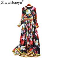 Ziwwshaoyu Fashion 3D Applique Long dress High Street Beading Print O Neck Long Dresses 2019 spring and summer new women