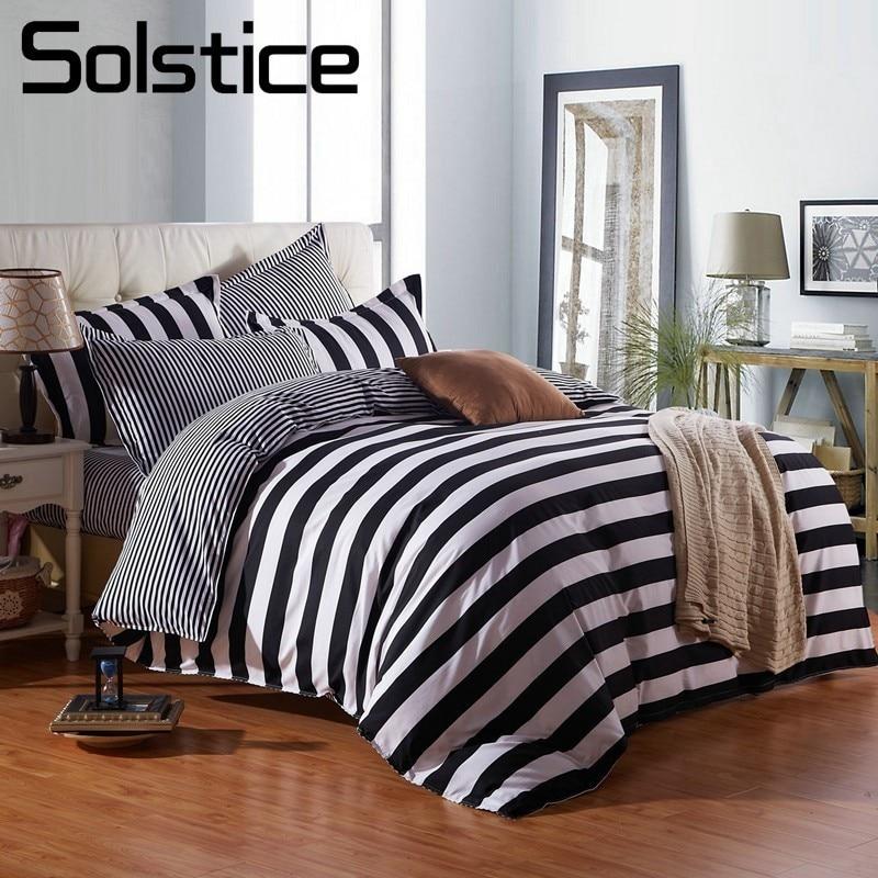 Solstice Textile de Maison Géométrique Bande Motif Ensembles de Literie Housse de Couette Taie D'oreiller Feuille 3/4 pcs Mode Draps Roi Twin taille