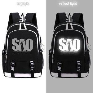 Image 3 - Spada Arte Online zaino 2019 Trendy usb del computer portatile del sacchetto di scuola per adolescenti bookbag Kirito cosplay Oxford Zaini di viaggio