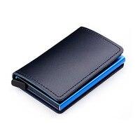Aluminum Business ID Card Holder Slim Card Case Anti RFID Mini Wallet for Men 100% Genuine Leather Bank Card Case