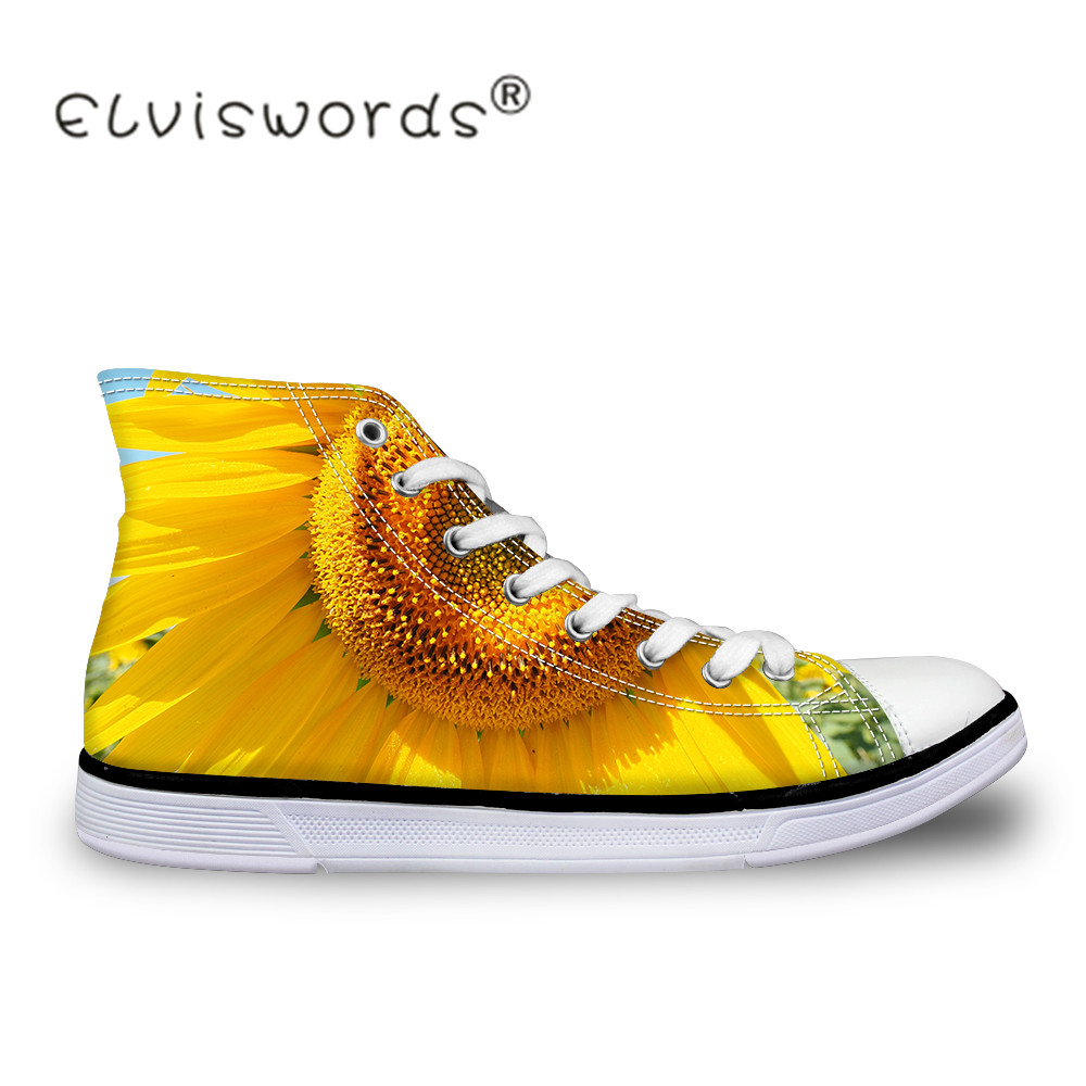 ELVISWORDS Spring Women Vulcanize Shoes Sunflower Printed Sneakers Female High Top Canvas Shoes for Girls Leisure Shoes Student e lov brand casual women girls canvas shoes graffiti printed low top flat shoes walking leisure shoe