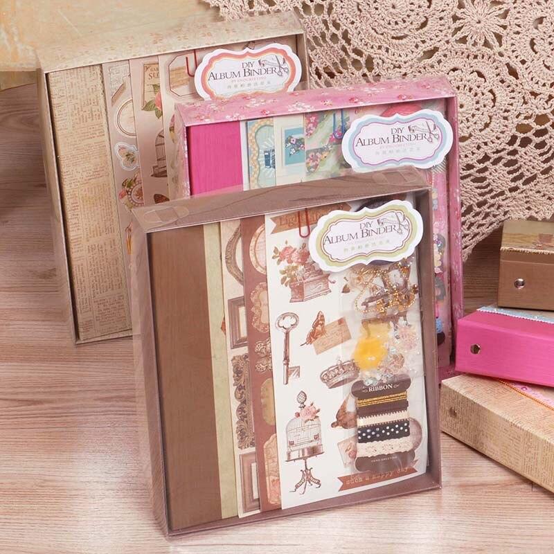 diy photo album making kit vintage scrapbook album set for kid birthday wedding scrapbooking. Black Bedroom Furniture Sets. Home Design Ideas