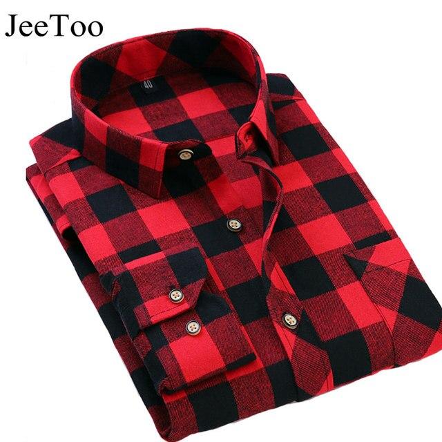 25867a5ba77a1 JeeToo Marca Plaid Camisas Rojas Y Negro Masculina Camisa de Vestir de  Manga larga Slim Fit