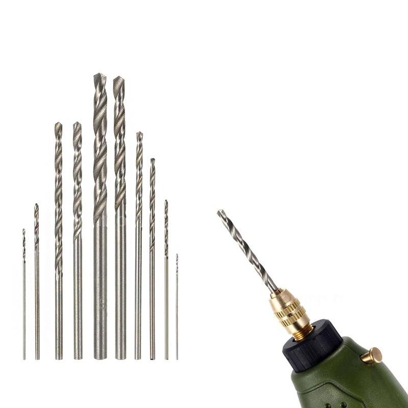New 10Pcs/Set HSS High Speed White Steel Twist Drill Bit Set for Dremel Rotary Tool 13pcs lot hss high speed steel drill bit set 1 4 hex shank 1 5 6 5mm free shipping hss twist drill bits set for power tools