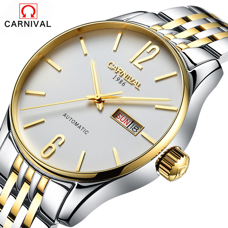 2017 carnaval affaires montres mécaniques 100 m étanche en acier inoxydable bande saphir cristal montres hommes nouveau luxe Watc