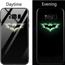 Marvel Iron Man Batman Luminous Glass Phone Case For Samsung Galaxy S8 S9 S10 e Plus Note 8 9 Avengers Black Panther Cover Coque