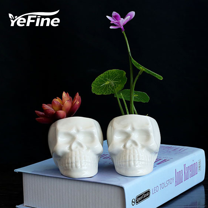 YeFine Cráneo Creativo Blanco Macetas de Cerámica DIY Mini - Productos de jardín