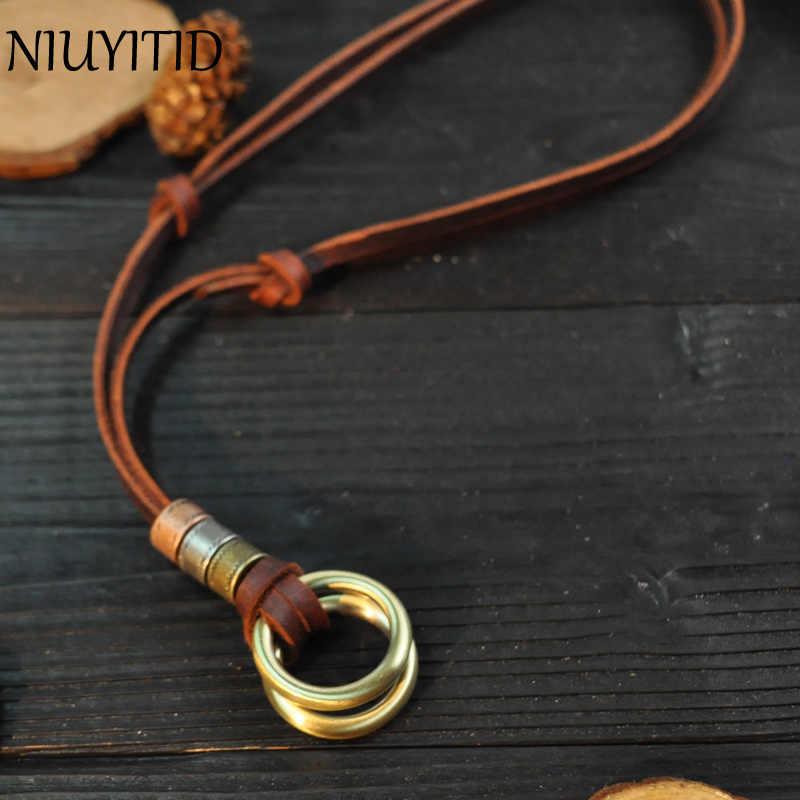 NIUYITID 100% Genuine Leather Men Necklaces Retro Cheap Pendants Neckless Adjustable Cool Male Jewelry