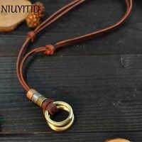 NIUYITID 100% Echtem Leder Männer Halsketten Retro Günstige Anhänger Neckless Einstellbar Coole Männlichen Schmuck