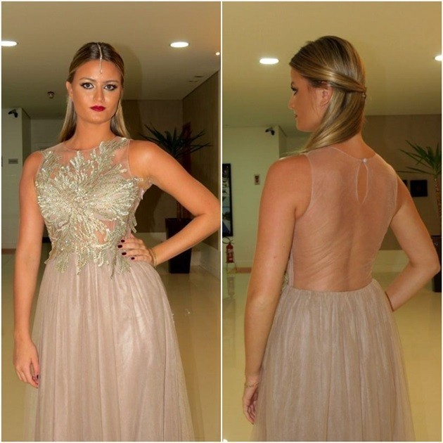 Modern Style See Through Back Design Evening Formal Gowns Scoop