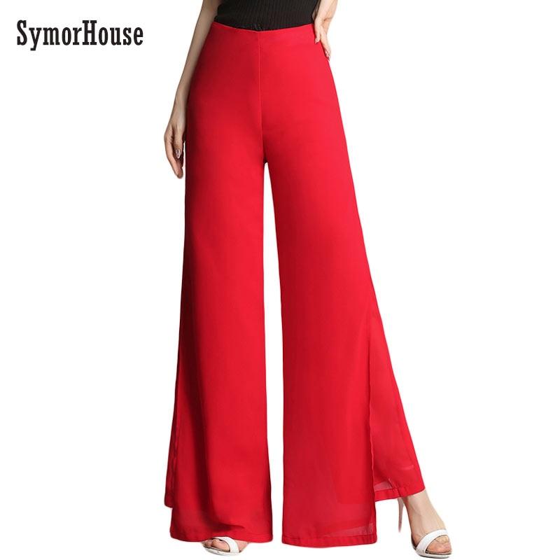 New Women Vintage Loose High Waist Chiffon Pants Trousers Double Layer Side Split Casual Pants Summer Wide Leg Pants Pantalones