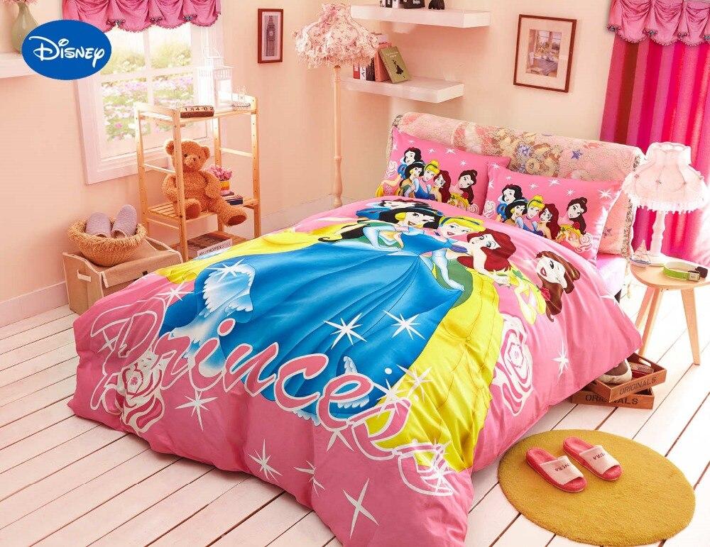 Disney Cartoon princesse imprimé couette ensemble de literie pour fille chambre décor coton couvre-lit housse de couette unique double reine