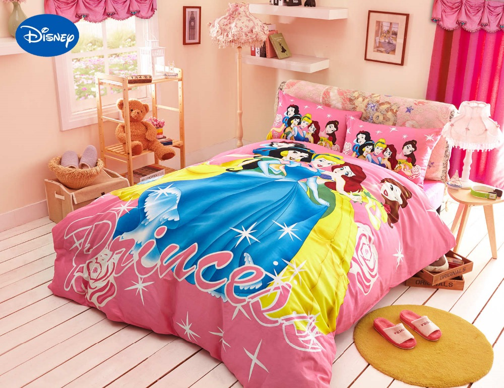 Disney Cartoon Princess Printed Comforter Bedding Set For