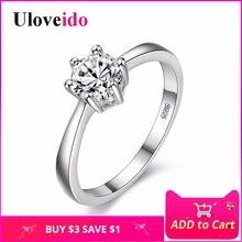 Скидка 5% обручальные кольца для женщин влюбленных подарок серебряный Цвет кубический цирконий, ювелирные подвески кольцо Bijoux фианит Обручальные Кольцо женское бижутерия uloveido J002W