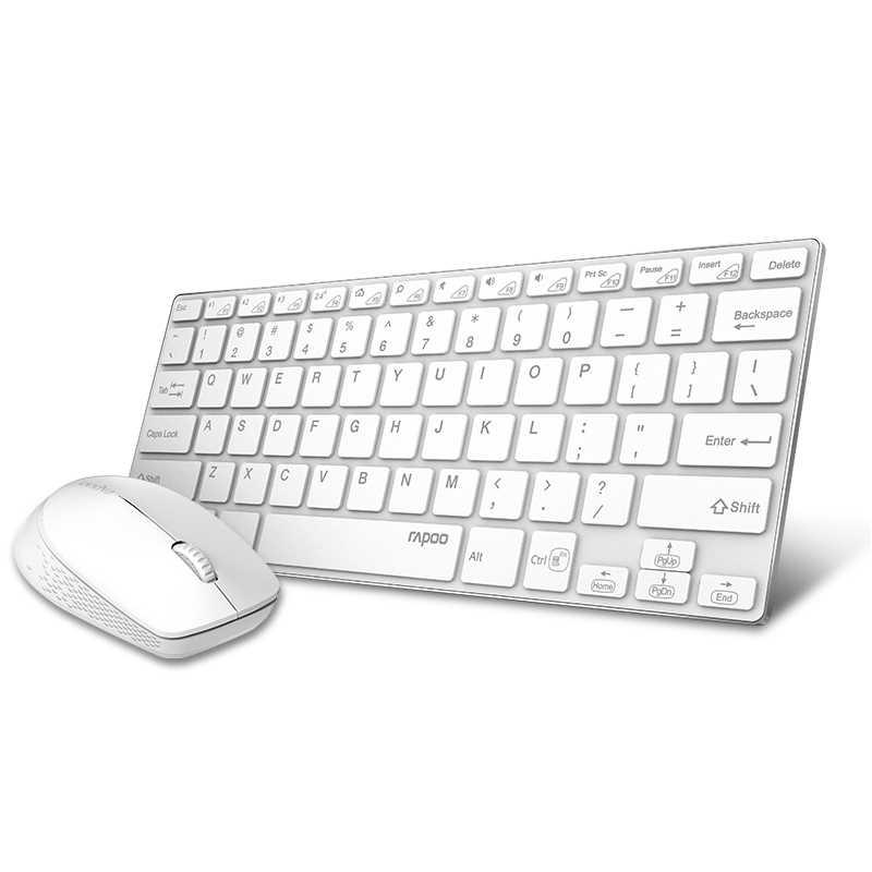 Nouveau Rapoo Mini multi-mode silencieux sans fil clavier souris Combos commutateur Bluetooth et 2.4G jusqu'à 3 appareils pour PC/TV/ordinateur