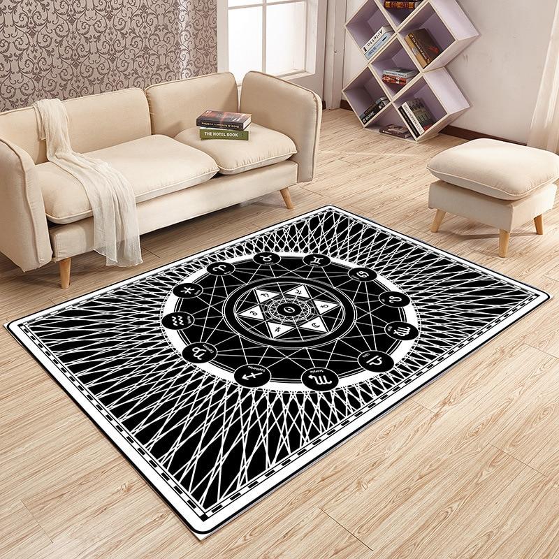 Moderne métal noir géométrique tapis salon chambre famille tapis Style japonais et coréen vestiaire mode décoratif tapis