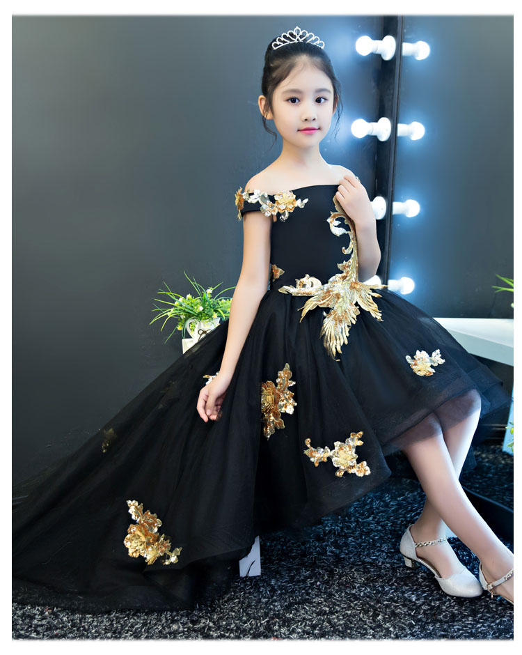 75ae2aba20 US $114.59 |Black Shoulderless Flower Girl Dresses Sequins Appliques Kids  Pageant Dress for Party Birthday Costume Ball Gown Princess Dress-in  Dresses ...