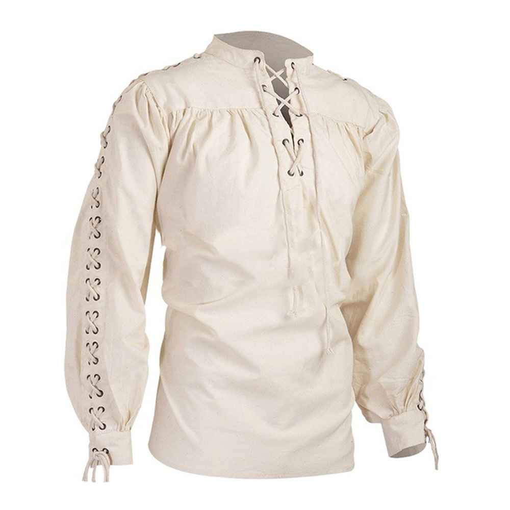 Mens Tops Vintage Shirt Medieval Gothic High Neck Pure Color Long Sleeve Pullover Pleated