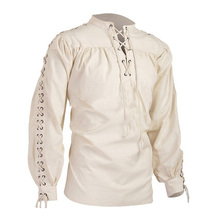 Men's Tops Vintage Shirt Medieval Gothic Shirt High Neck Pure Color Long Sleeve Pullover Pleated Tops pure color 1 2 sleeve pleated dress