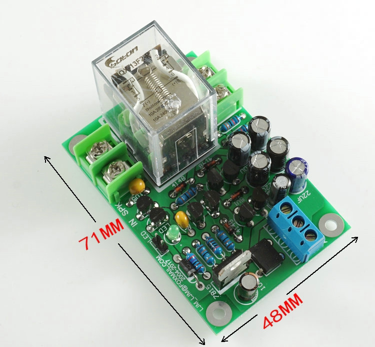 Full discrete transistors Dual channel speaker protection board With black relay