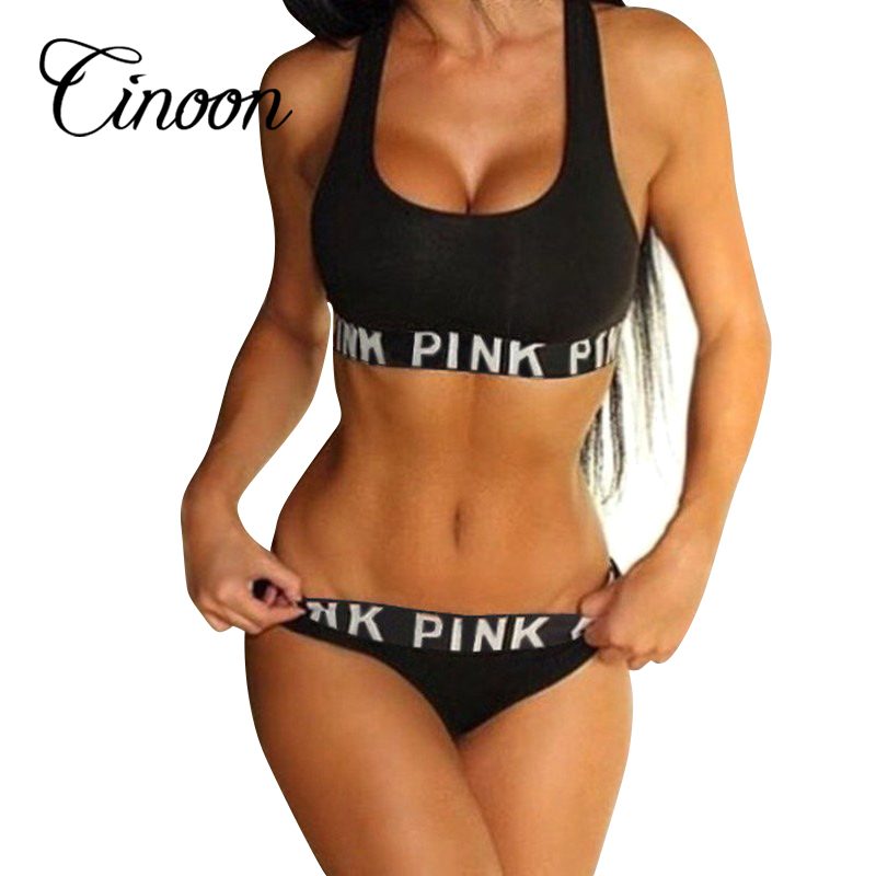 2016 women fitness workout Seamless sexy underwear women bra set patchwork sexy vs pink lingerie unlined sportswear sets