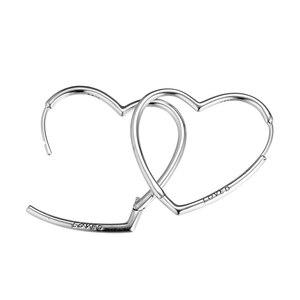 Image 4 - Genuine 925 Sterling Silver Large Earrings for Women Asymmetric Hearts of Love Hoop Earrings Party Wedding Gift Fine Jewelry