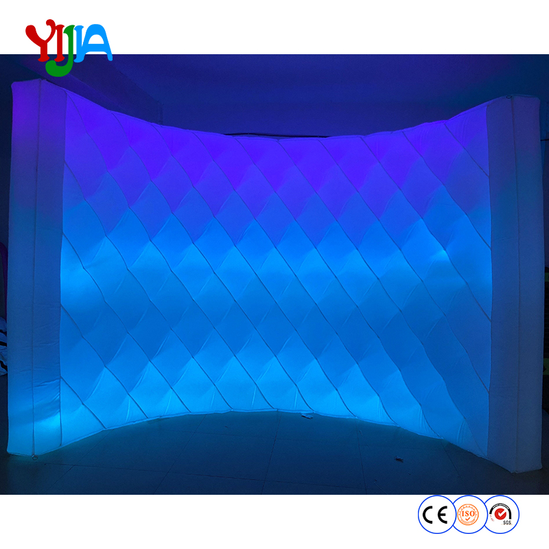 DHL Shipping 10ft L Bright Shining Diamond Shape Inflatable LED Wall PhotoBooth Backdrop Wall With LED Strips For Party Events