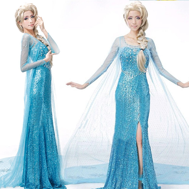 adult Elsa Frozen princess long bling dress with cloak Halloween cosplay costume wear for woman with wig crown stick JQ 1003A