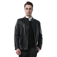 Genuine Sheepskin Leather Jacket Mens Black leather Motorcycle jacket 9918