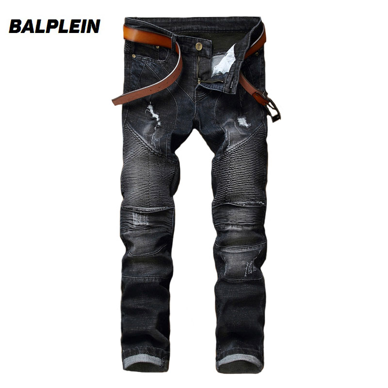 Black Color Fashion Mens Jeans High Street Youth Slim Fit Ripped Jeans Homme Motor Pants Balplein Brand Destroy Biker Jeans Men