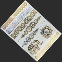 1Pcs Metalic Tattoo Flash Golden Tattoos Kids Fake Tattoos For Party Body Paint Make Up Decoration ShenTie Tattooed