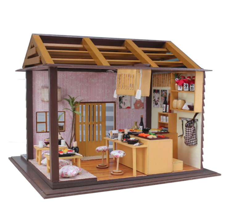 Intellective Ins 3d Diy Doll House Sushi Restaurant Handmade Craft Toys Wooden Miniature Dollhouse With Furnitures Assemble Kits Toy Gift