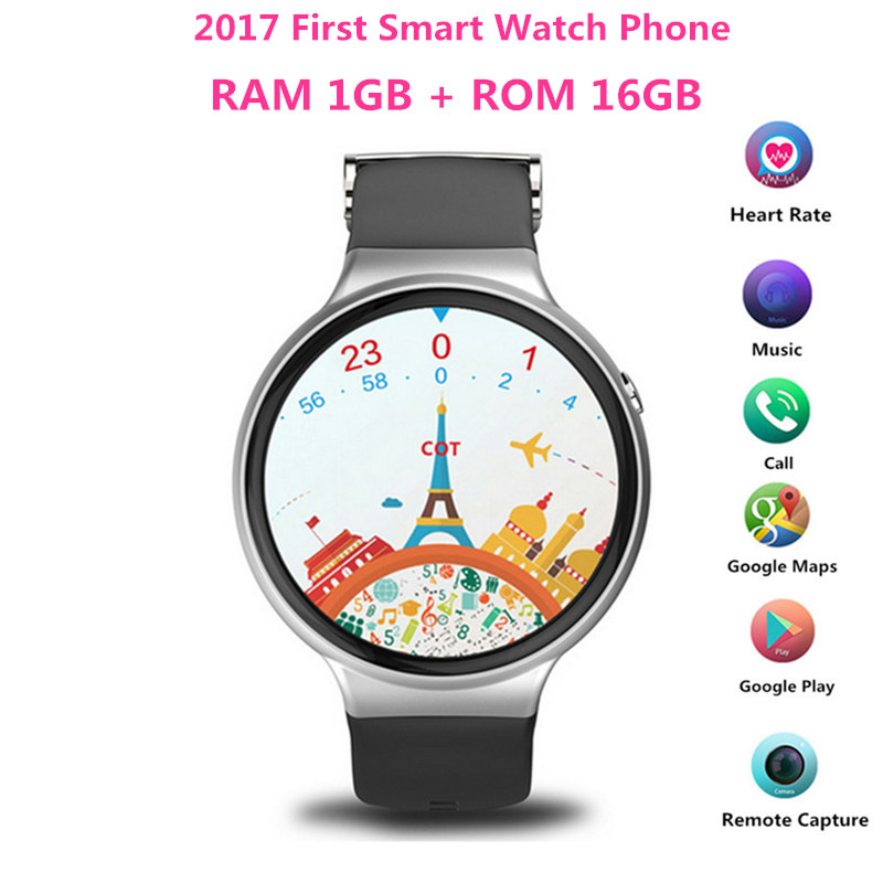 2017 First RAM 1GB ROM 16GB Smart Watch IQI I4 Android 5 1 MTK6580 Heart Rate