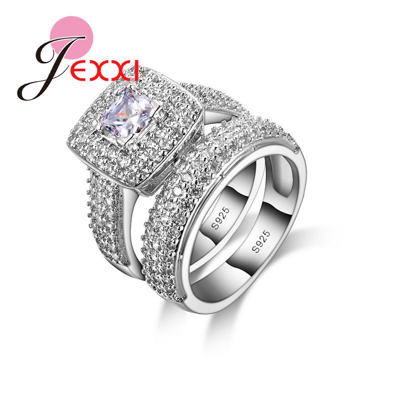 JEXXI 2 PCS Women Fashion Wedding Jewelry 925 Sterling Silver Rings Set For Girls Engagement anillos anel aneis Free Shipping