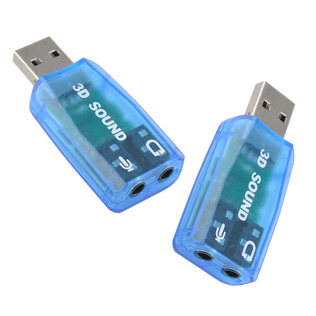 New 5.1-Channel w/3.5mm Sound Card External USB Sound Card Audio Card Adapter Computer Stereo Mic Audio USB Converter
