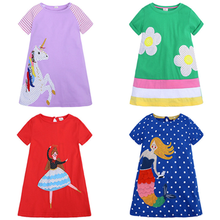 все цены на 0-6Year Kids Girl A-line Dresses Summer Chidlren Clothes Toddler Girls Dress Baby Cotton Short Sleeve Print Cartoon Casual Dress онлайн
