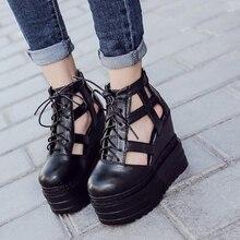 Chaussures d'été dames talons pompes plate-forme bottes femmes chaussures haute talons cheville sangle femme sandales punk chaussures à lacets sandales D1015