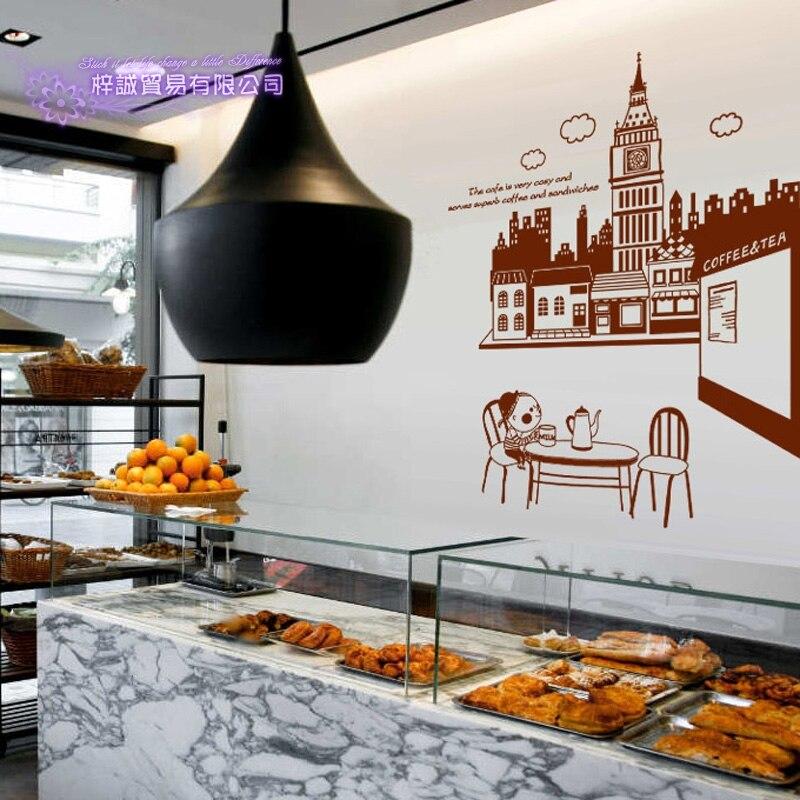 Café autocollant nourriture grand Ben décalcomanie café affiche vinyle Art stickers muraux Pegatina Quadro Parede décor Mural café autocollant