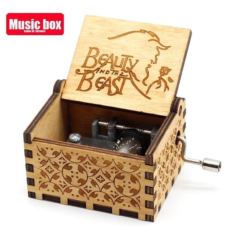 Горячая античная резная деревянная рукоятка Симпсоны игра трон музыкальная шкатулка подарок на день рождения Шкатулка анонимичность украшения Звездные войны - Цвет: Beauty The Beast