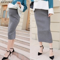 2018 Spring Autumn Korean Fashion Maternity Belly Knitting Skirts Woolen Knitted Stretch Pencil Skirts Bottom for Pregnant Women