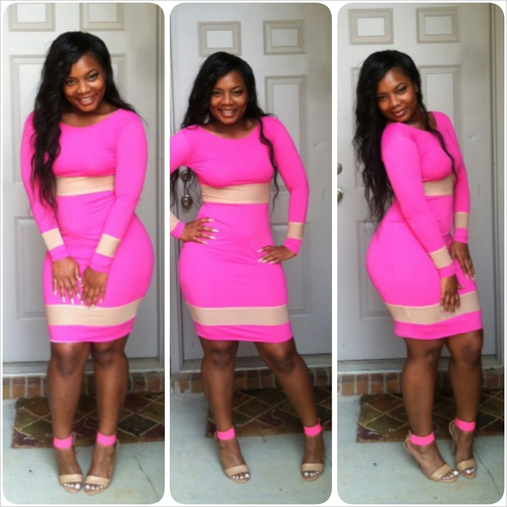 S M L Plus Size 2014 New Fashion Spring Sexy Long Sleeve Bodycon Bandage Dress  Hot Pink Casual Dress TY072 357016e37