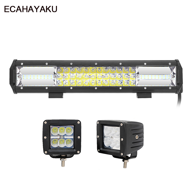 ECAHAYAKU 2Pcs 3inch Led Pods 18W Flood 1Pcs 15inch Led Light Bar 216W Combo beam for Offroad SUV Jeep Tractor Trailer 10-30V DC