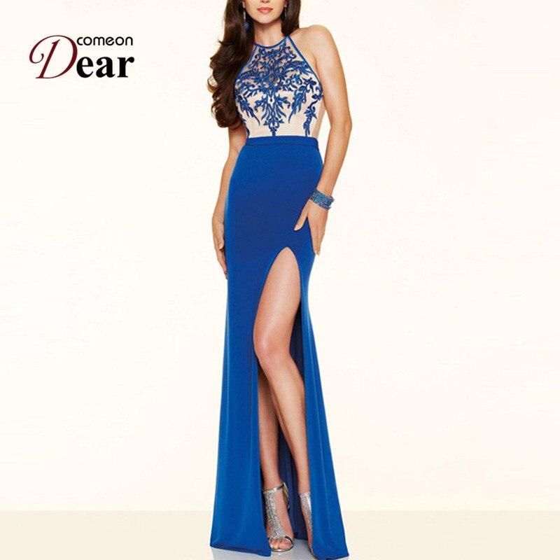 Comeondear Yüksek Yarık Halter Boyun Çizgisi Parti Nakış - Bayan Giyimi - Fotoğraf 4