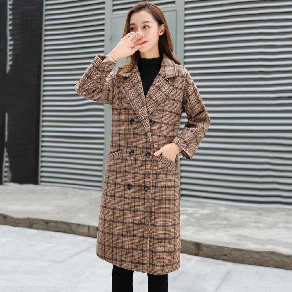 Vintage Plaid Wool Coat Women Winter 2019 Fashion Hot Thicken Warm Loose Fleece Outerwear Korean Street Casual Overcoat Female